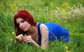 Picture grass, Girl, red, blue dress, wild flower