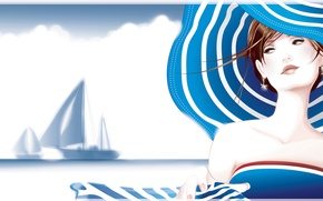 Picture strip, ship, Girl, sailboat, hat