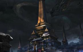 Wallpaper dragon, fiction, temple, art