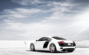 Picture white, the sky, Audi, Audi, tuning, supercar, drives, rear view, tuning, V10, B10