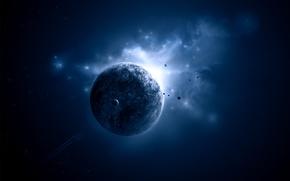 Picture planet, light blue, Sci fi