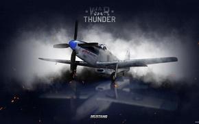 Picture the sky, clouds, fighter, Art, American, War Thunder, hibikirus, BBC America, P-51H