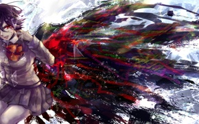 Picture blood, wings, anime, tears, art, form, schoolgirl, tokyo ghoul, rine mikoto, kirishima touka. girl