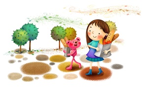 Picture trees, smile, Park, the wind, figure, bread, girl, fruit, boots, animal