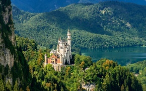 Picture forest, mountains, castle, Germany
