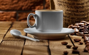 Picture coffee, grain, spoon, Cup, saucer