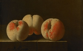 Picture picture, fruit, still life, Adrian Coort, Three Peaches on a Stone Pedestal