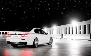 Picture stars, night, bmw, white, ass, 750li, 7series