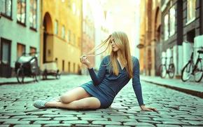 Picture girl, street, dress, legs