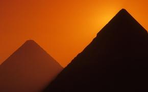 Picture sunset, Giza, glow, Egypt, pyramid