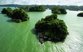 Picture greens, water, Islands, drying, mainland