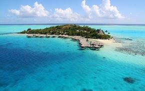 Picture tropics, the ocean, island, the hotel, exotic, Bungalow, Bora-Bora