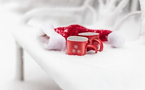 Picture new year, snow, mugs, winter