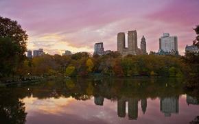 Picture USA, skyline, trees, sunset, New York, Manhattan, NYC, New York City, autumn, lake, evening, Central …