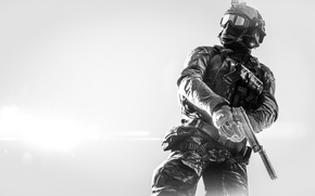 Picture weapons, background, soldiers, equipment, Battlefield 4