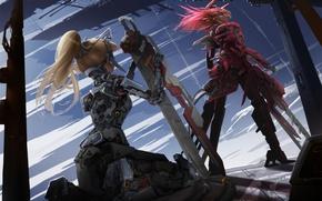 Picture metal, weapons, girls, mechanism, robot, sword, ears, neko, red eyes, Android, fur