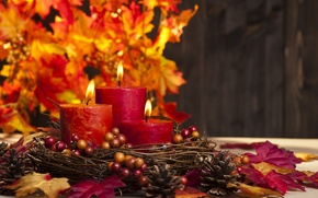Picture autumn, leaves, candles