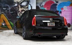 Picture black, Cadillac, grafiti, black, CTS-V, Cadillac
