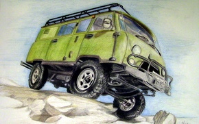 """Picture figure, pencils, four-wheel drive, special utility, with the wheel formula 4×4, """"Loaf"""", two-axle all terrain …"""