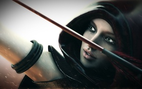 Picture girl, bow, Archer, hood, arrow
