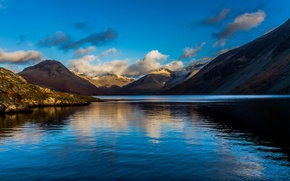Picture the sky, clouds, landscape, mountains, lake