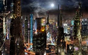 Picture the city, future, fiction, building, future, City, fantasy, skyscrapers, megapolis, sci-fi, buildings, skyscrapers, Scott Richard, …