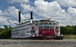 Picture clouds, river, steamer, American Queen