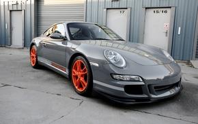 Picture Porsche, wheels, grey, GT3, orange, wrap, gloss