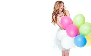 Picture girl, balls, joy, smile, mood, makeup, dress, hairstyle, white background, beads, brown hair, air, is, ...