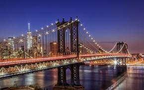 Wallpaper light, night, bridge, the city, lights, USA, New York