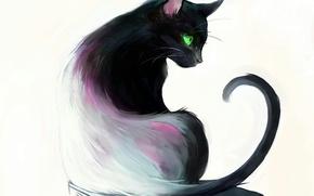 Picture eyes, cat, books, green, sitting, cat, art, Picolo-kun