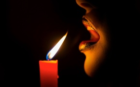 Picture darkness, fire, candle, breath, lips