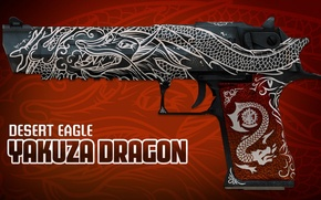 Picture white, symbol, desert eagle, paint, workshop, cs go, presentation, yakuza dragon, patina