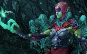 Picture forest, girl, art, headband, ghosts, soul, skeletons, Dota 2, Death Prophet, Krobelus