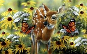 Wallpaper Rebecca Latham, baby, art, meadow, butterfly, summer, fawn