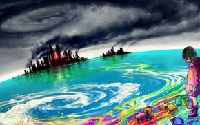 Picture sea, the sky, paint, girl, plants, art, yuumei