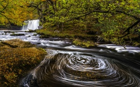Picture river, autumn, waterfall, Wales, Sgwd Nonsense Top, Upper Gushing falls