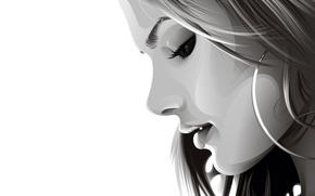 Picture girl, vector, profile