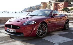 Picture red, shore, Jaguar, home, yachts, Jaguar, supercar, convertible, the front, Convertible, XKR-S