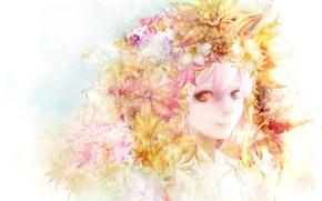 Picture girl, flowers, face, anime, art, zhang xiao bo
