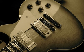 Picture music, photo, background, Wallpaper, guitar, strings, Sepia, case, musical instrument