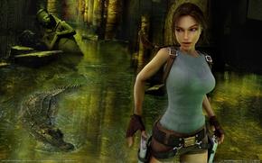 Picture girl, weapons, crocodile, fire, guns, girl, ruins, Lara Croft, statues, ruins, game wallpapers, Tomb raider, …