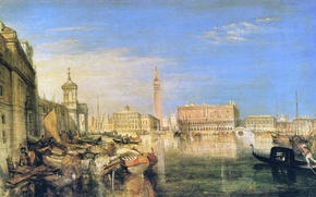 Wallpaper sea, tower, home, picture, boats, Venice, the urban landscape, the bell tower, William Turner, The ...