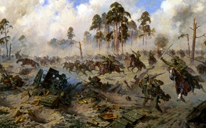 Picture storm, avalanche, riders, storm, panic, war, swords, artillery, Attack of the Cossacks, cavalry, the Germans …