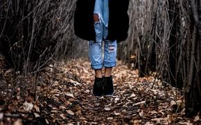 Picture girl, Canada, legs, woman, autumn, bokeh, jeans, shoes, female, Edmonton, stop motion