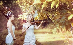 Picture nature, girls, violin, Tree, hairstyles, violinist