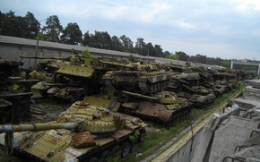 Wallpaper dump, Kiev state, repair, The graveyard of tanks, mechanical, plant, Tanks