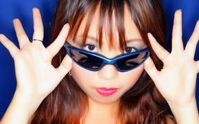 Picture look, background, glasses, Asian, girls, asian