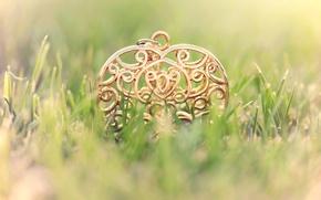 Picture grass, metal, lawn, pattern, pendant, heart