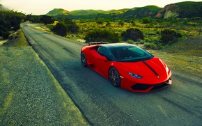 Picture Lamborghini, Red, Front, Vorsteiner, Aero, Road, Verona, Rich, 2015, Huracan, LP640-4, Edition
